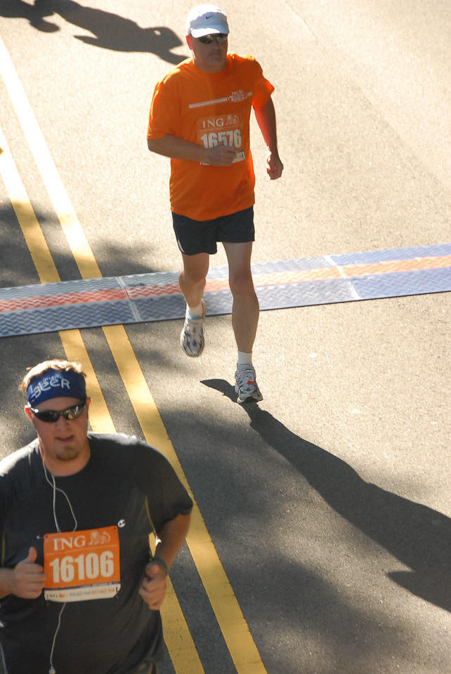 Crossing electronic chip sensor during Philadelphia Distance Run - September 2009