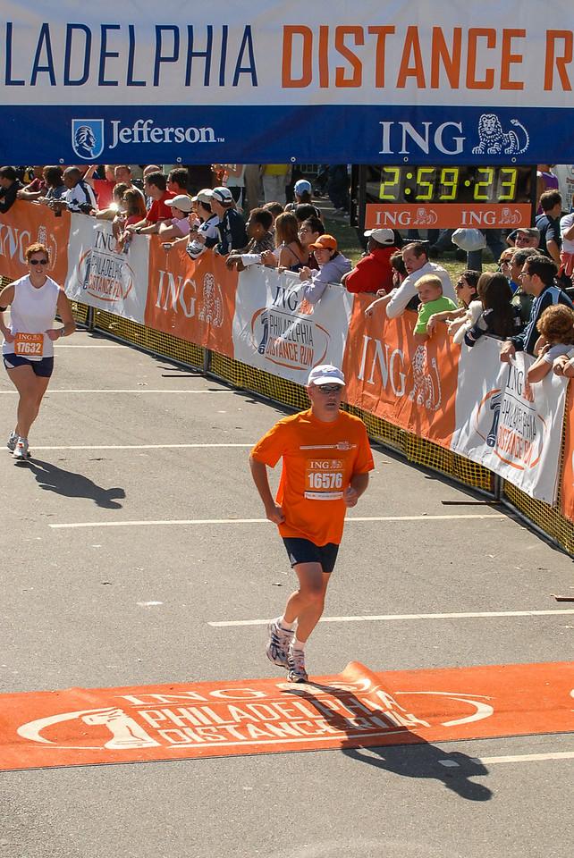 Crossing the Finish Line of Philadelphia Distance Run - September 2009