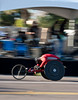 One of the few wheel chair racers as he passed the mile 17 stage with Psychedelic Mooj playing.