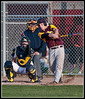 Both Umpire and Catcher with closed (tight!) eyes, during a varsity high school baseball game.