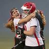North Andover's Kelsey Cusack, left, celebrates with goalie Lauren Hiller.