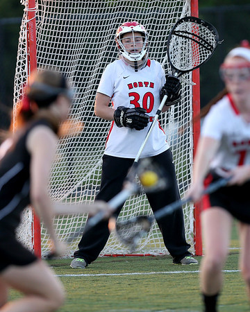 North Andover goalie Lauren Hiller keeps her eye on the play.