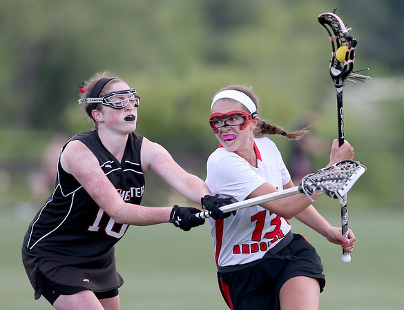 North Andover's Leah Chittick protects the ball against the Winchester defense.