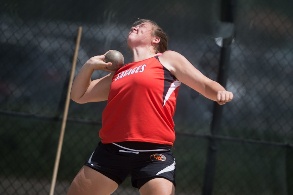 . Lamar High School\'s Haley Bender finished third place in the girls 3A shot put during the Track and Field State Championships at Jefferson County Stadium in Lakewood on Saturday. More photos: www.BoCoPreps.com Autumn Parry/Staff Photographer May 21, 2016