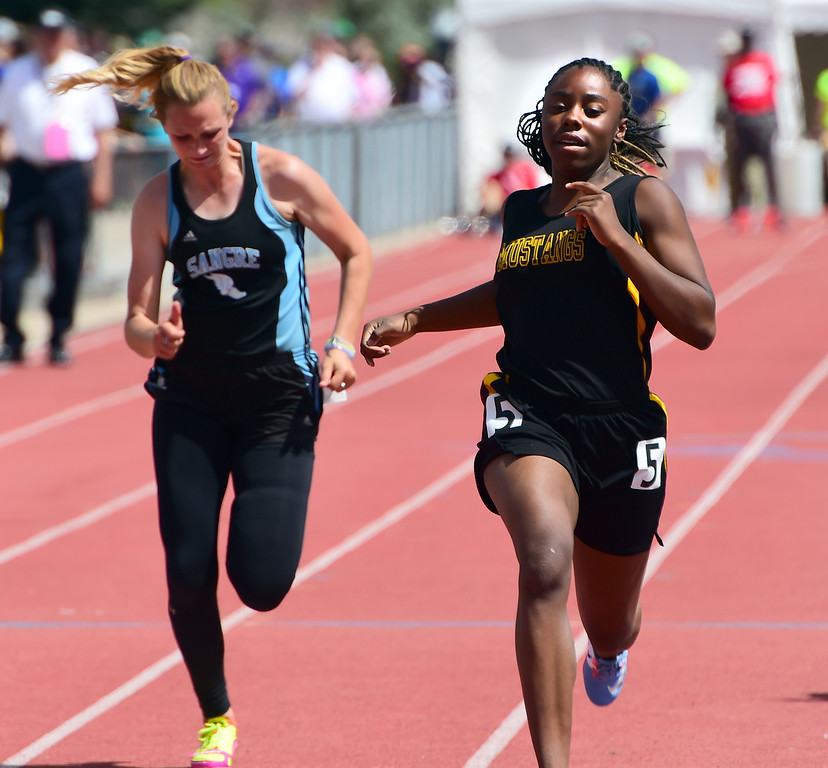 . Zariah Mason, of Kim, had a big day on Saturday during the Colorado State Track and Field Championships  at Jeffco Stadium. For more photos, go to www.bocopreps.com. Cliff Grassmick  Staff Photographer  May 21, 2016