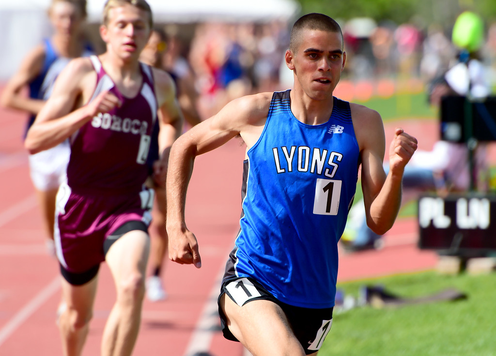 . Paul Roberts, of Lyons, wins the 1600 meters during the Colorado State Track and Field Championships on Saturday at Jeffco Stadium. For more photos, go to www.bocopreps.com. Cliff Grassmick  Staff Photographer  May 21, 2016