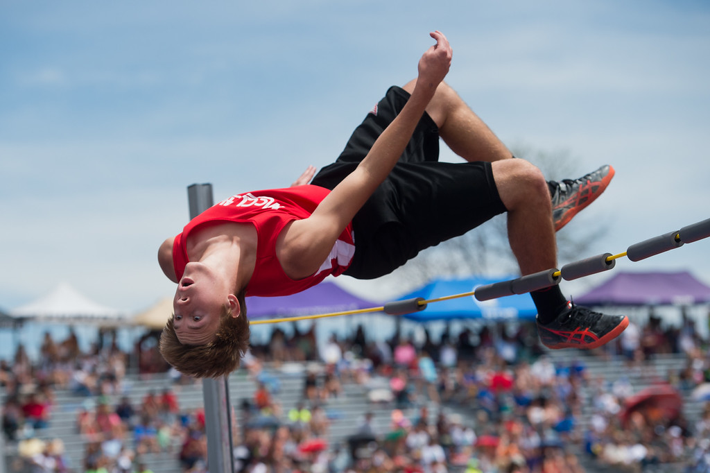 . McClave High School\'s Ian Beckett finished first place in the 1A high jump during the Track and Field State Championships at Jefferson County Stadium in Lakewood on Saturday. More photos: www.BoCoPreps.com Autumn Parry/Staff Photographer May 21, 2016