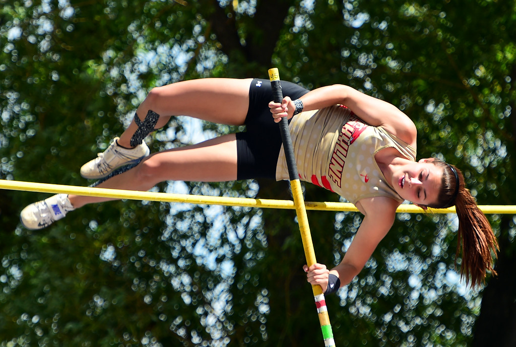 . Alex Hellenberg, of Skyline, competes in the pole vault during the Colorado State Track and Field Championships on Saturday at Jeffco Stadium. For more photos, go to www.bocopreps.com. Cliff Grassmick  Staff Photographer  May 21, 2016