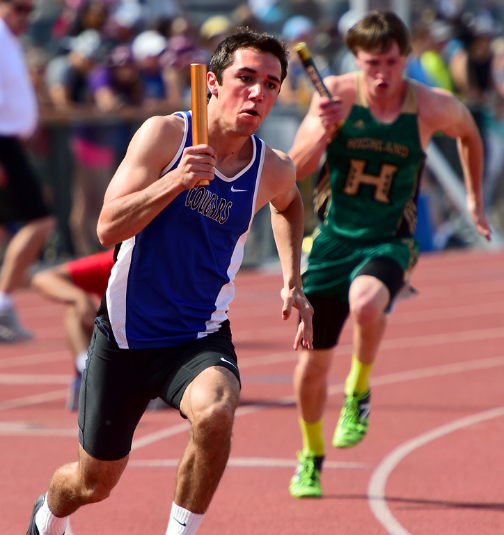 . Connor Stahla, of Resurrection Christian, starts the 4X100 relay for his winning teammates during the Colorado State Track and Field Championships on Saturday at Jeffco Stadium. For more photos, go to www.bocopreps.com. Cliff Grassmick  Staff Photographer  May 21, 2016
