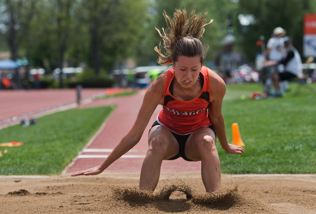 . Lamar High School\'s Brenna Vallejos finished in third place in the girls 3A long jump during the Track and Field State Championships at Jefferson County Stadium in Lakewood on Saturday. More photos: www.BoCoPreps.com Autumn Parry/Staff Photographer May 21, 2016