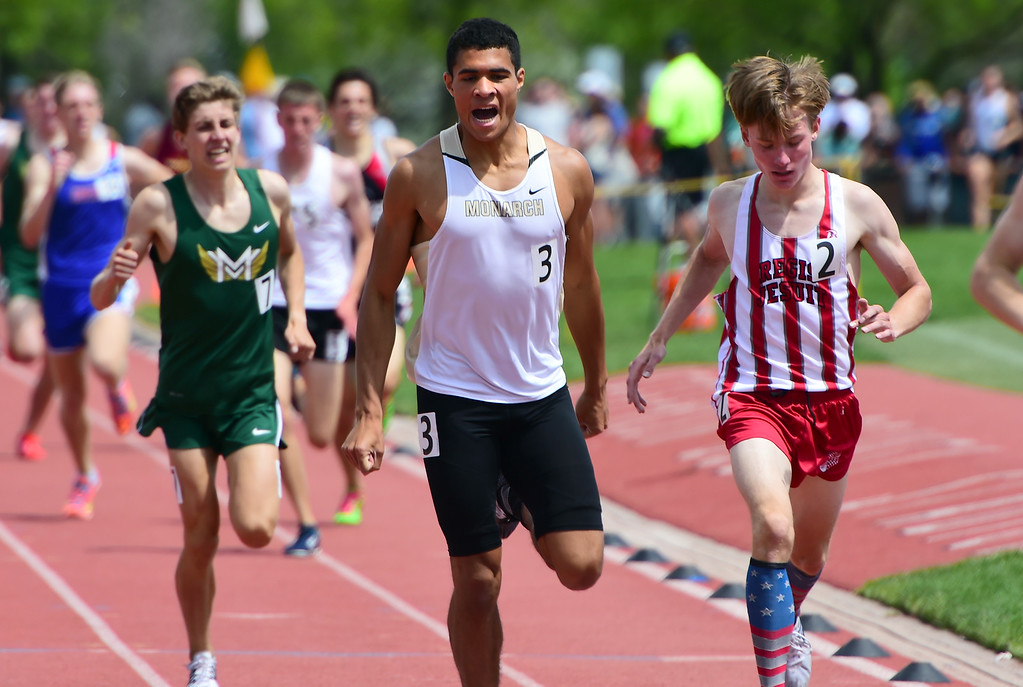 . Isaac Green, of Monarch, pulls into second place in the 1600 meters, during the Colorado State Track and Field Championships on Saturday at Jeffco Stadium. For more photos, go to www.bocopreps.com. Cliff Grassmick  Staff Photographer  May 21, 2016