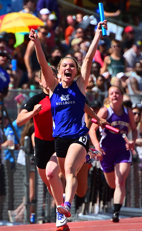 . Kayla Pinnt, of Moffat County, helps her team win the 4X100 meter relay during the Colorado State Track and Field Championships on Saturday at Jeffco Stadium. For more photos, go to www.bocopreps.com. Cliff Grassmick  Staff Photographer  May 21, 2016