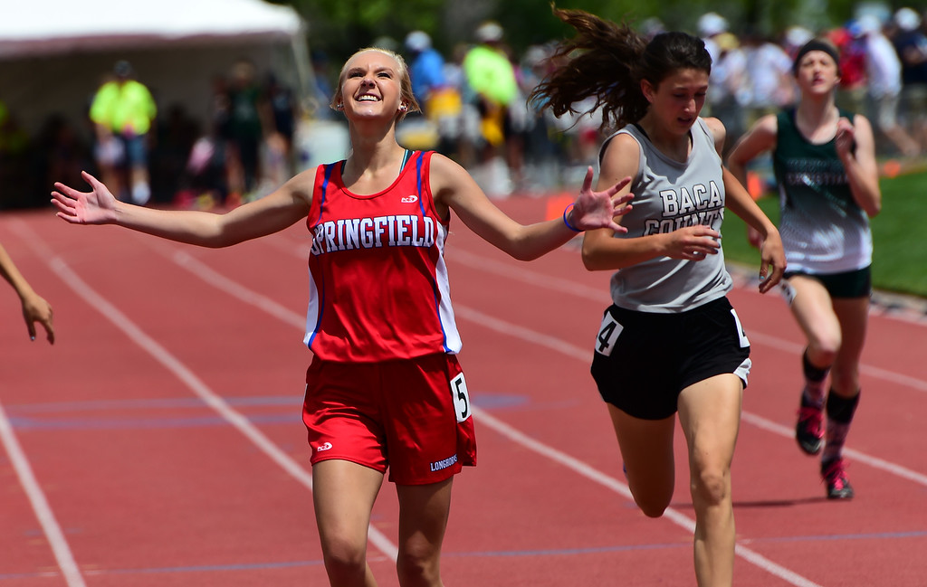 . Tatelyn Lasley, of Springfield, wins the 400 meters during the Colorado State Track and Field Championships on Saturday  at Jeffco Stadium. For more photos, go to www.bocopreps.com. Cliff Grassmick  Staff Photographer  May 21, 2016