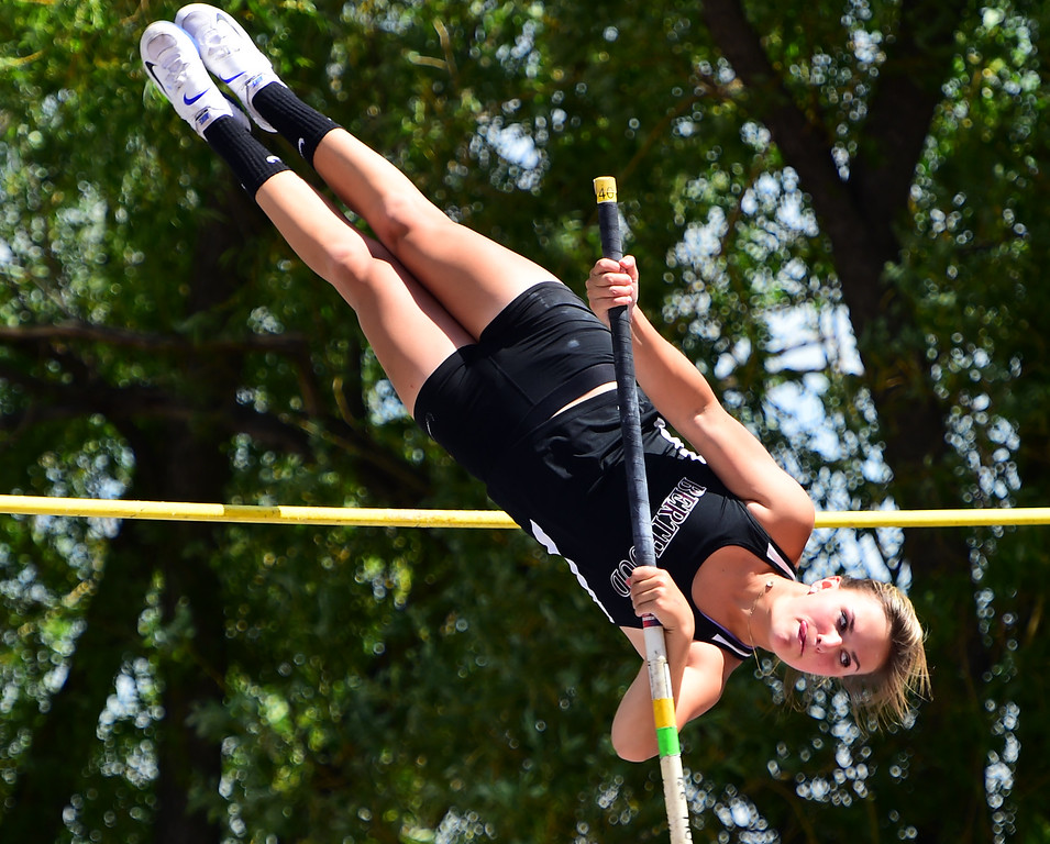 . Josie Spitz, of Berthoud, competes in the pole vault, during the Colorado State Track and Field Championships on Saturday at Jeffco Stadium. For more photos, go to www.bocopreps.com. Cliff Grassmick  Staff Photographer  May 21, 2016