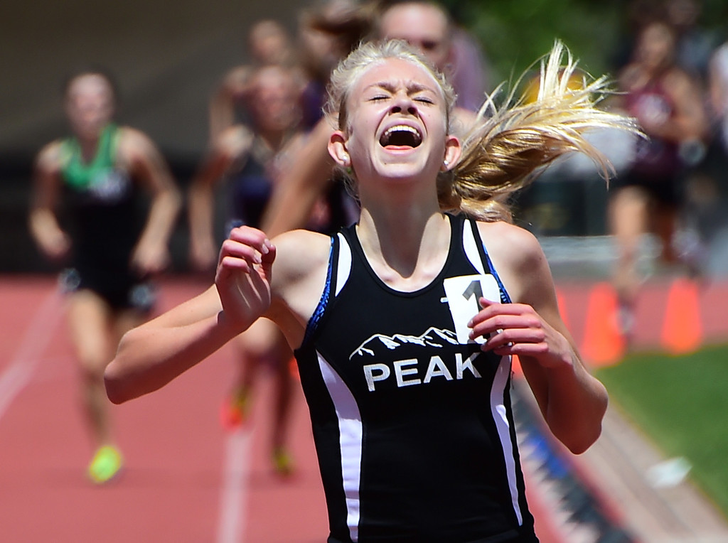 . Anna Shults, of Peak to Peak, wins the 1600 meters during the Colorado State Track and Field Championships on Saturday at Jeffco Stadium. For more photos, go to www.bocopreps.com. Cliff Grassmick  Staff Photographer  May 21, 2016