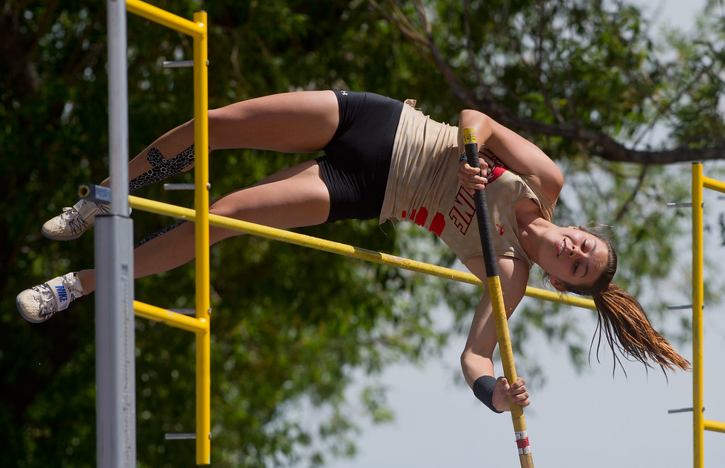 . Skyline High School\'s Alex Hellenberg finished fourth place in the girls 4A pole vault during the Track and Field State Championships at Jefferson County Stadium in Lakewood on Saturday. More photos: www.BoCoPreps.com Autumn Parry/Staff Photographer May 21, 2016