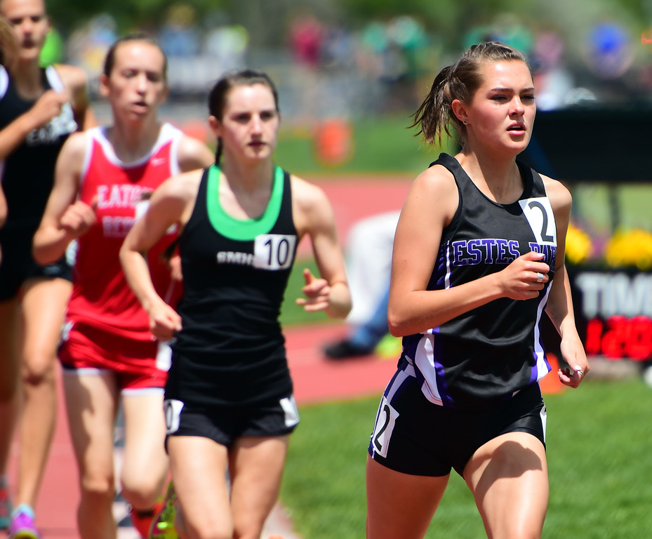 . Lily Tomasula- Martin, of Estes Park, competes in the 1600 meters during the Colorado State Track and Field Championships on Saturday at Jeffco Stadium. For more photos, go to www.bocopreps.com. Cliff Grassmick  Staff Photographer  May 21, 2016