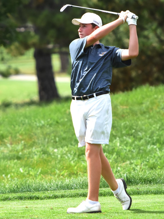 . Frederick\'s Jake Chesler hits a tee shot during the 4A Region 3 tournament on Wednesday at the Olde Course in Loveland.
