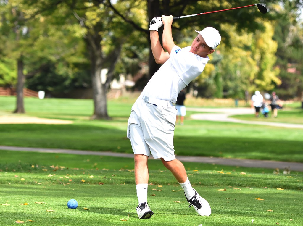 . Longmont\'s Eric Wagner hits a tee on No. 11 during the 4A Region 3 tournament on Wednesday at the Olde Course in Loveland.