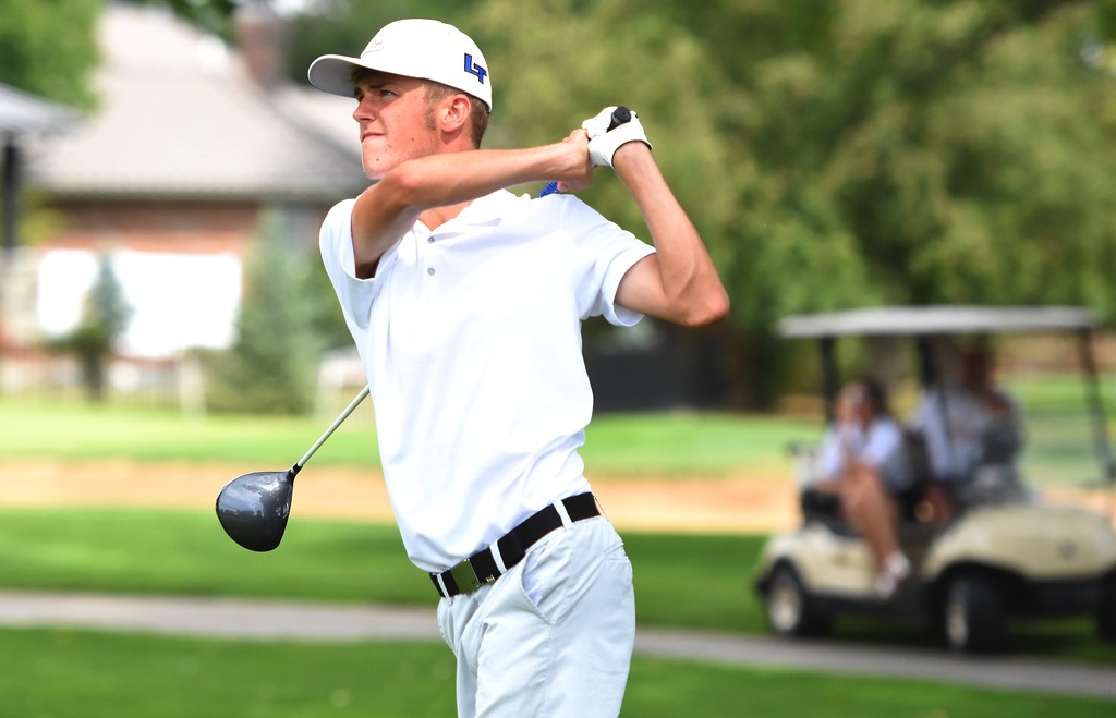 . Longmont\'s Bennett Wiley watches a drive on No. 11 during the 4A Region 3 tournament on Wednesday at the Olde Course in Loveland.