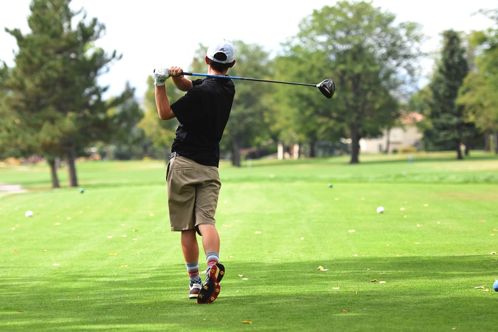 . Silver Creek\'s David Brett tees off on No. 11 during the 4A Region 3 tournament on Wednesday at the Olde Course in Loveland.