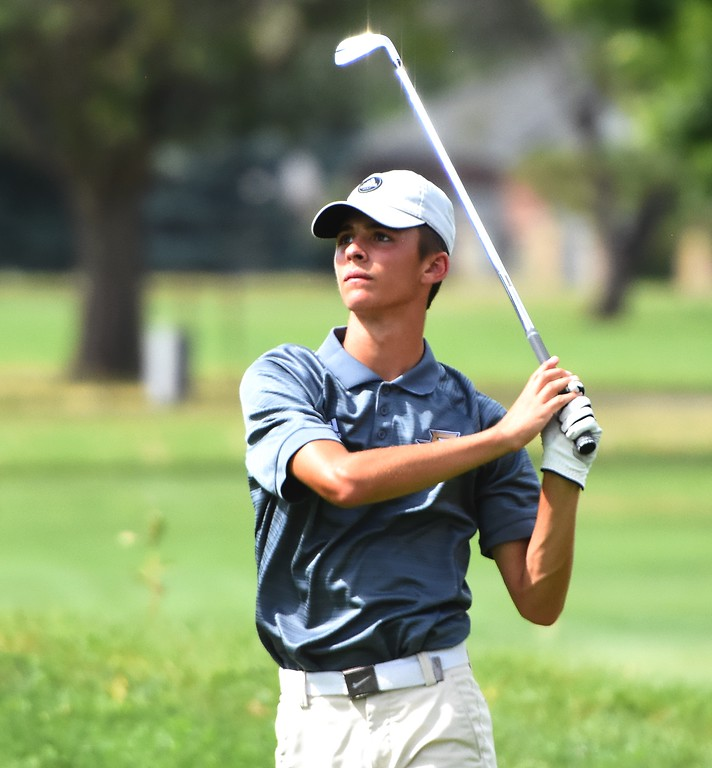 . Frederick\'s Nick Formby watches a tee shot during the 4A Region 3 tournament on Wednesday at the Olde Course in Loveland.