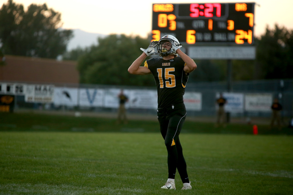 . Thompson Valley�s (15) Trey Kreikemeier mourns a fumble at Patterson stadium in Loveland on Sept. 14, 2018 against Berthoud High School.