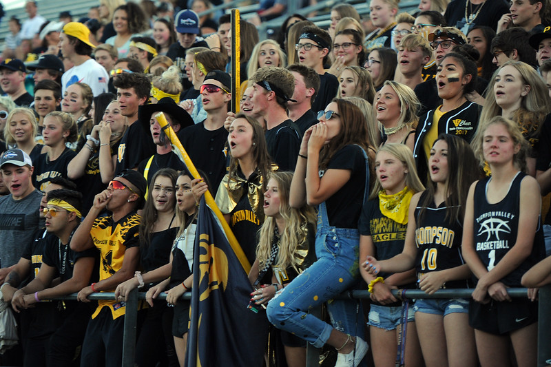 The Thompson Valley student section cheers on their team during a game Friday, Sept. 14, 2018 at Patterson Stadium in Loveland, Colorado. (Sean Star/Loveland Reporter-Herald)