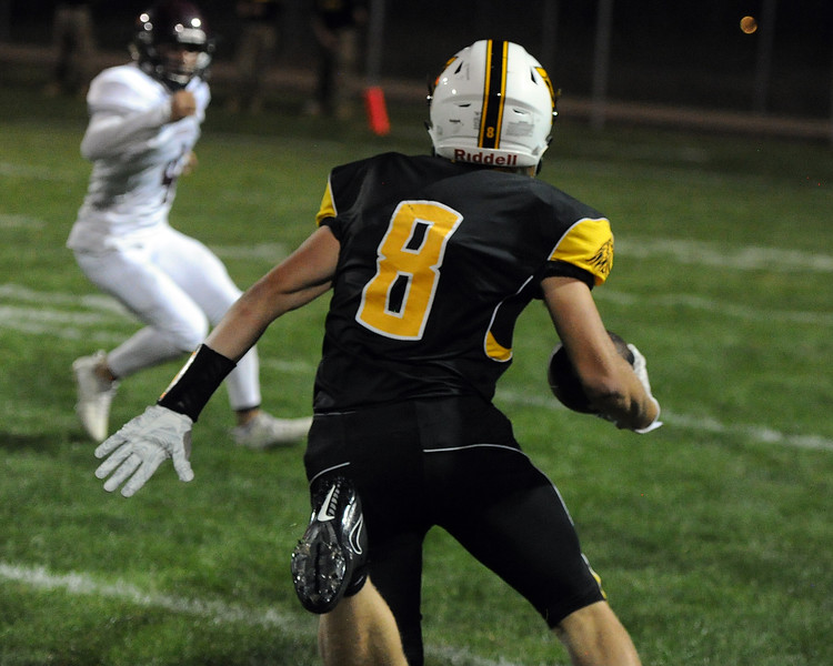 Thompson Valley's Brock Nellor (8) heads downfield during a game Friday, Sept. 14, 2018 at Patterson Stadium in Loveland, Colorado. (Sean Star/Loveland Reporter-Herald)