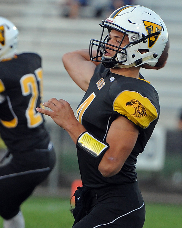 . Thompson Valley\'s Cameron Nellor throws a pass during a game Friday, Sept. 14, 2018 at Patterson Stadium in Loveland, Colorado. (Sean Star/Loveland Reporter-Herald)
