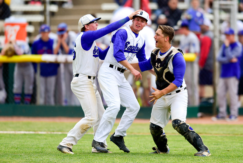 . Broomfield High School\'s Tanner Garner (No. 16), Ben Peterson (No. 9) and Mason Speirs (No. 8) celebrate their win over Cherry Creek High School on Saturday. The Eagles defeated the Bruins, 2-1, to advance to the final game. More photos: BoCoPreps.com. Matthew Jonas/Staff Photographer May 27,  2017