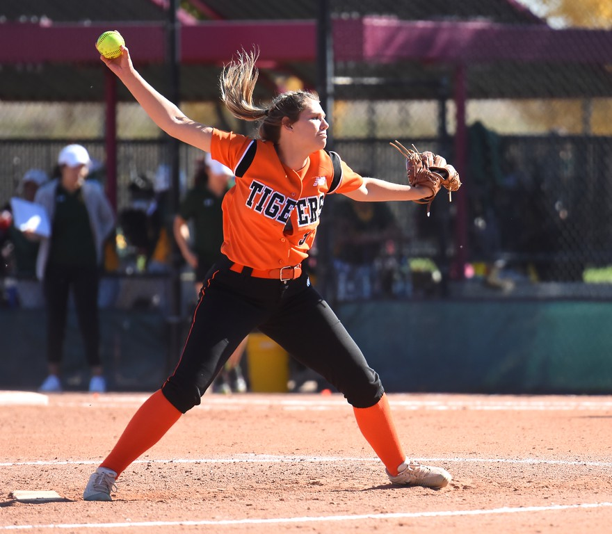 . Erie�s Alyssa Barnett winds up for a pitch during the softball state championships on Friday at Aurora Sports Park. (Photo by Brad Cochi/BoCoPreps.com)