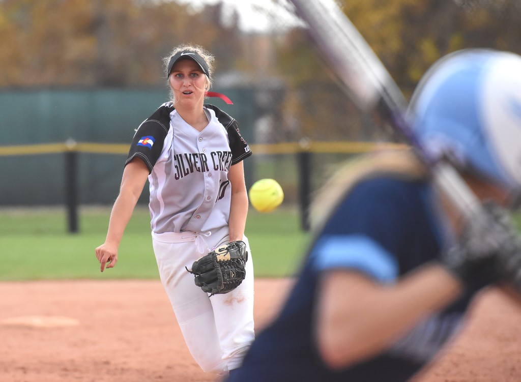 . Silver Creek�s Jetta Nannen delivers a pitch during the softball state championships on Friday at Aurora Sports Park. (Photo by Brad Cochi/BoCoPreps.com)