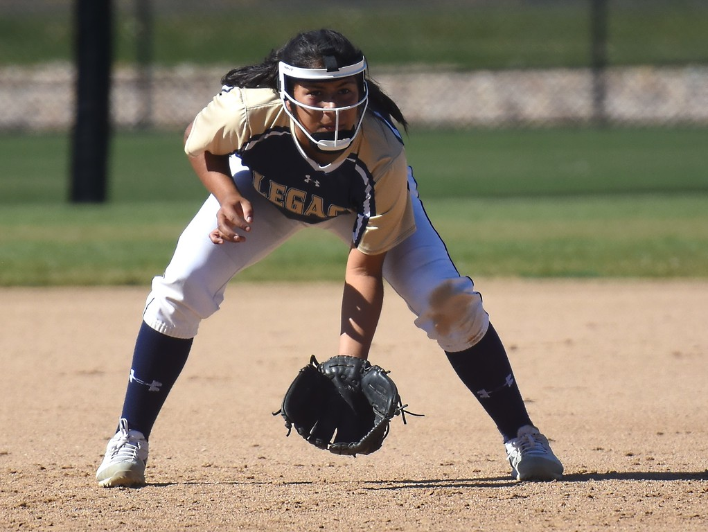 . Legacy�s Alyssa Archuleta prepares to field a ground ball during the softball state championships on Friday at Aurora Sports Park. (Photo by Brad Cochi/BoCoPreps.com)
