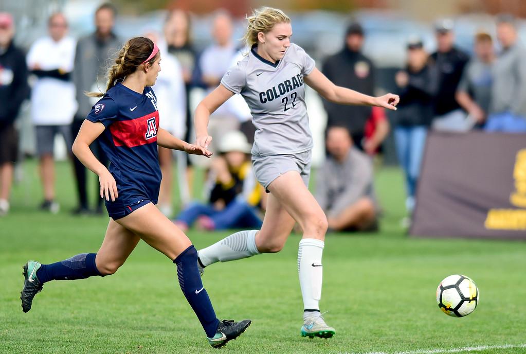 . University of Colorado Taylor Kornieck (No. 22) battles with University of Arizona Samantha Falasco (No. 23) at Prentup Field in Boulder, Colorado on Oct. 22, 2017. (Photo by Matthew Jonas/Times-Call)