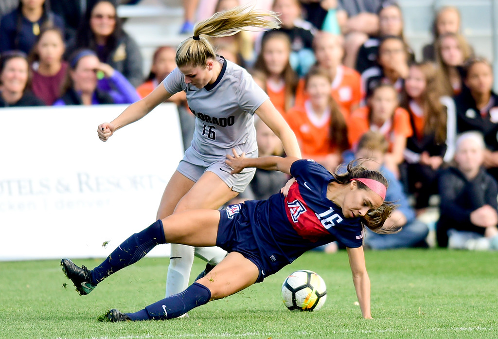 . University of Colorado Erin Greening (No. 16) and University of Arizona Sabrina Enciso (No. 16) get tangled up while chasing after the ball at Prentup Field in Boulder, Colorado on Oct. 22, 2017. (Photo by Matthew Jonas/Times-Call)