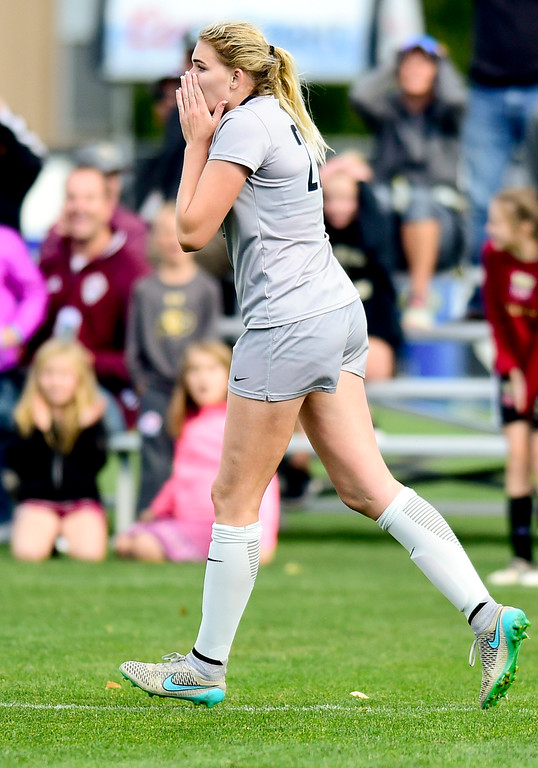 . University of Colorado Taylor Kornieck (No. 22) reacts after her shot on goal ricocheted off the cross bar during the game against  University of Arizona at Prentup Field in Boulder, Colorado on Oct. 22, 2017. (Photo by Matthew Jonas/Times-Call)