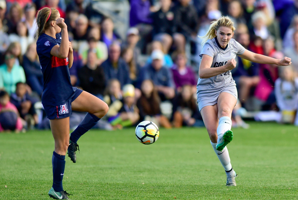 . University of Colorado Taylor Kornieck (No. 22) takes a shot on goal as University of Arizona Kelcey Cavarra (No. 6) tries to block it at Prentup Field in Boulder, Colorado on Oct. 22, 2017. (Photo by Matthew Jonas/Times-Call)