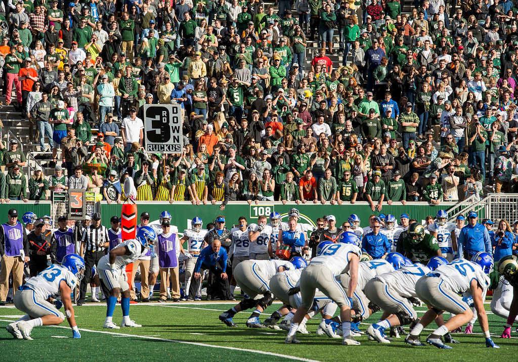 . Colorado State fans scream and shout during an Air Force third-down play Saturday afternoon Oct., 28, 2017 at the CSU Stadium in Fort Collins. The Rams defense could not stop the Falcons ground game and lost 45-28. (Michael Brian/For the Reporter-Herald)