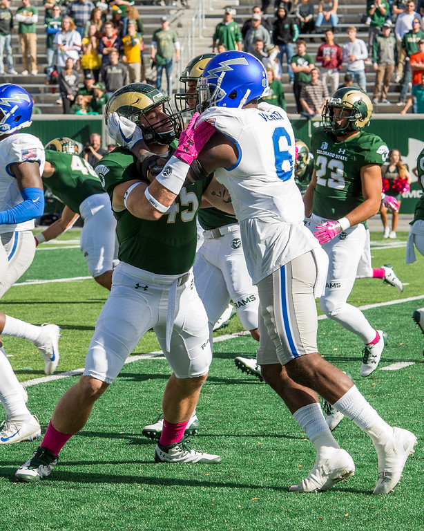 . Colorado State fullback Nate Ryken (45) faces off against Air Force linebacker Shaquille Vereen (6) during a kick return Saturday afternoon Oct., 28, 2017 at the CSU Stadium in Fort Collins. (Michael Brian/For the Reporter-Herald)