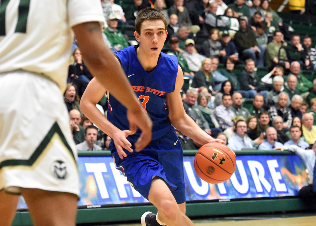. Boise State\'s Justinian Jessup dribbles to the lane during his team\'s game February 22, 2018 at Moby Arena in Fort Collins. (Sean Star / Loveland Reporter-Herald)