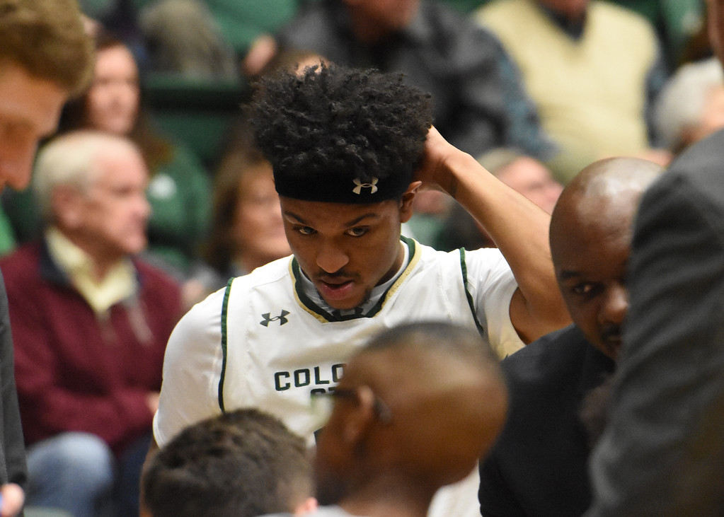 . Colorado State junior guard Prentiss Nixon listens to instructions during a timeout during a game February 22, 2018 at Moby Arena in Fort Collins. (Sean Star / Loveland Reporter-Herald)