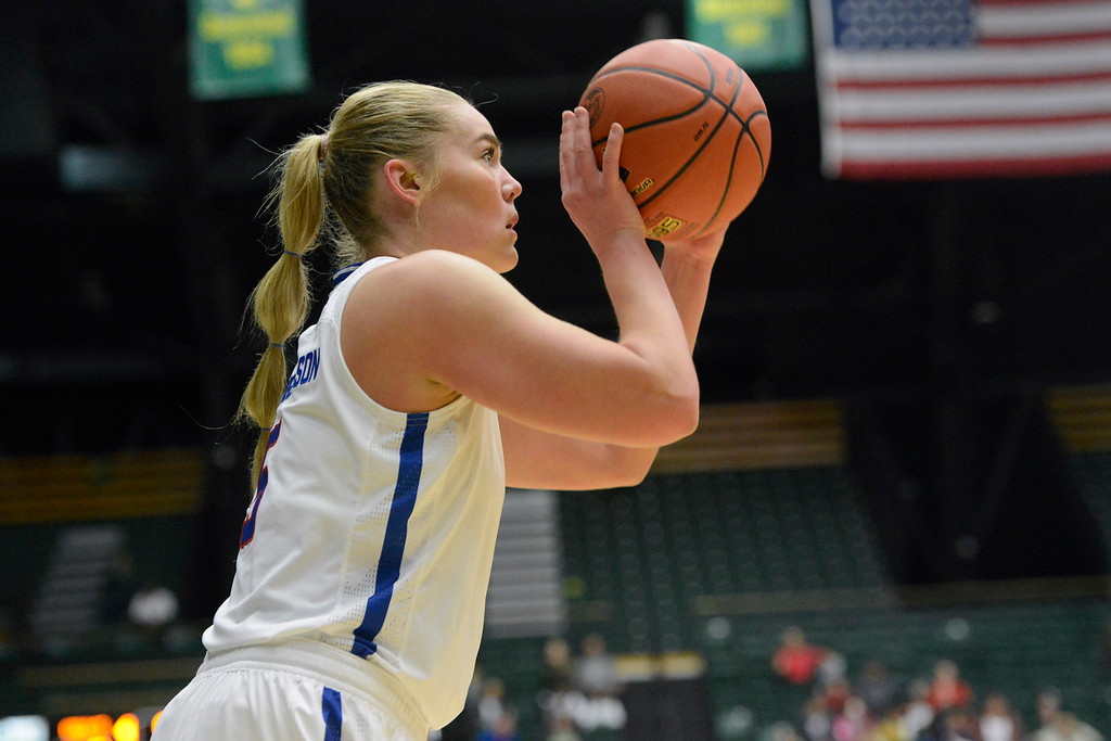 . Colorado State guard Sofie Tryggedsson lines up a 3-pointer on Saturday at Moby Arena. (Sean Star/Loveland Reporter-Herald)