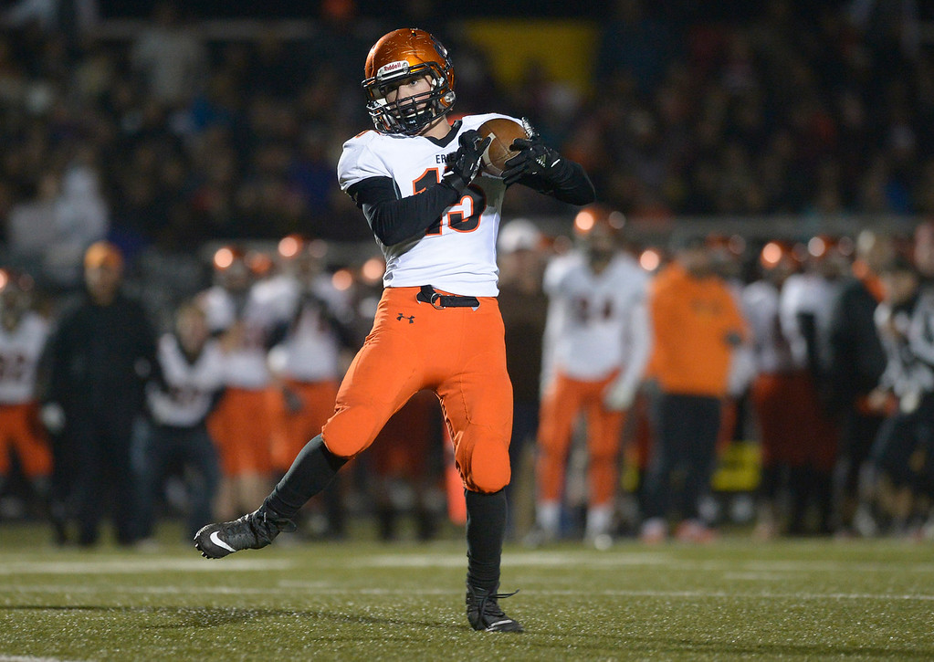 . Erie\'s Zach Rees makes a reception which he took into the end zone in the fourth quarter against Frederick Friday night at Frederick High School. Erie won 40-24. To view more photos visit bocopreps.com. Lewis Geyer/Staff Photographer Nov. 03, 2017