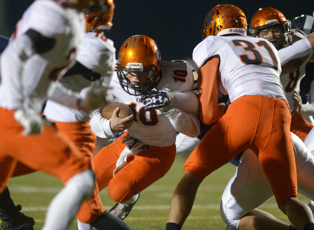 . Erie\'s Jacob Mansdorfer carries the ball in the red zone against Frederick in the second quarter Friday night at Frederick High School. To view more photos visit bocopreps.com. Lewis Geyer/Staff Photographer Nov. 03, 2017