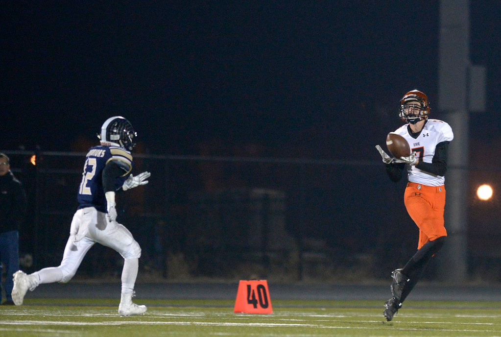 . Erie\'s Kaleb Furrmann makes a reception to score a touchdown in the third quarter Friday night at Frederick High School. Erie won 40-24. To view more photos visit bocopreps.com. Lewis Geyer/Staff Photographer Nov. 03, 2017