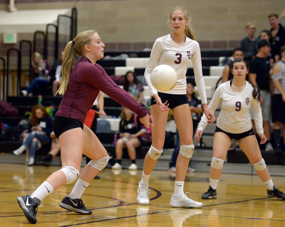 . Silver Creek\'s Tess Peter bumps the ball in the first game against Longmont at Silver Creek High School Thursday night. To view more photos visit bocopreps.com. Lewis Geyer/Staff Photographer Oct. 19, 62017