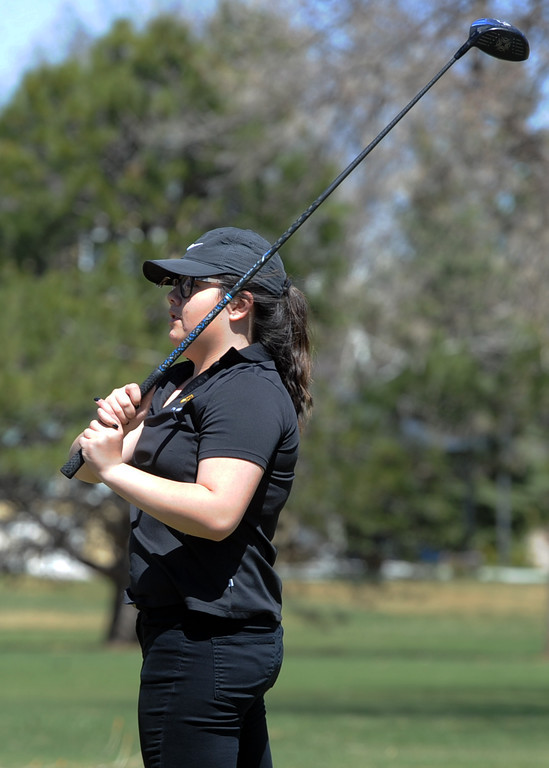 . Thompson Valley\'s Kelley Spangler watches her tee shot during the Loveland Invitational on Wednesday, April 11, 2018 at the Olde Course at Loveland. (Sean Star/Loveland Reporter-Herald)