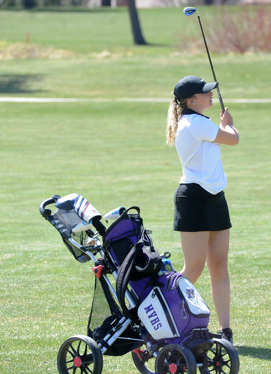 . Mountain View\'s Camryn Polansky watches her approach during the Loveland Invitational on Wednesday at The Olde Course at Loveland. (Sean Star/Loveland Reporter-Herald)