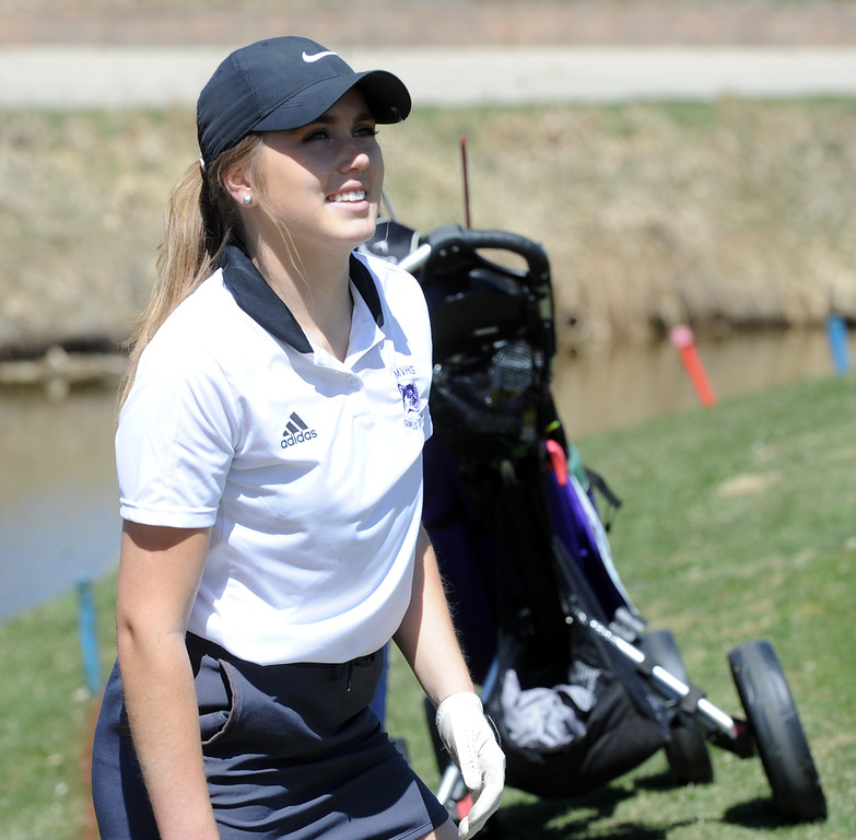 . Mountain View\'s Renee Demaree during the Loveland Invitational at the Olde Course on Wednesday, April 11, 2018. (Sean Star/Loveland Reporter-Herald)